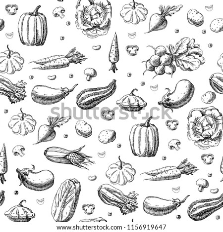 Seamless pattern with vegetables. Hand drawn vegan texture. Vegetarian food vector background #1156919647