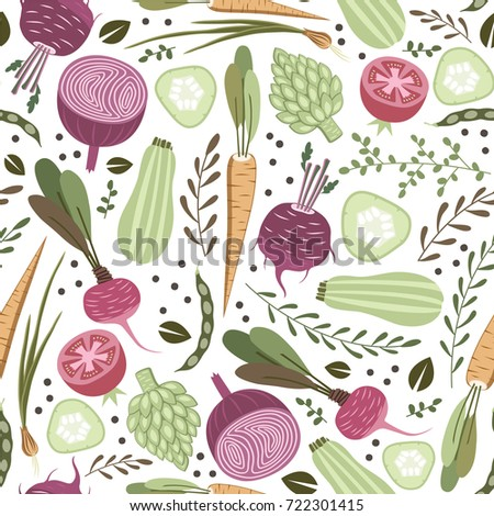 seamless pattern with vegetables. Healthy food pattern