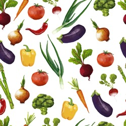 Seamless pattern with vegetables in a watercolor style. vector