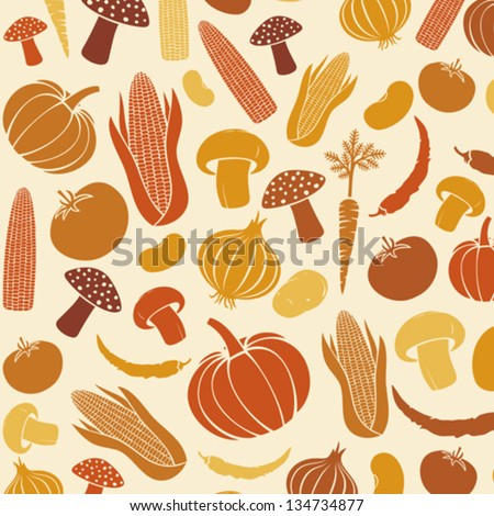 seamless pattern with vegetables (vegetable background, vegetables seamless background, corncob, onion, tomato, mushroom, potato, chili pepper, beans, pumpkin, carrot)