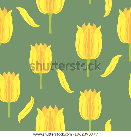 Seamless pattern with vibrant yellow and orange varietal tulips. Tulips colorful heads on the green background. Symmetrical tulip without leaves. Pattern for fabrics, print, web usage etc. Сток-фото ©