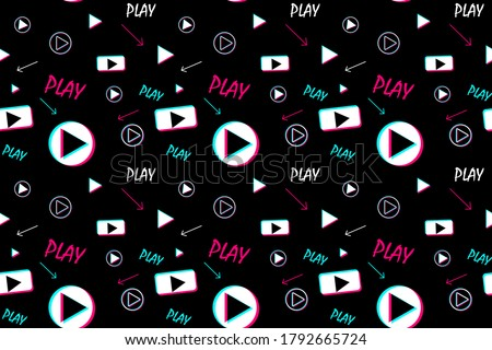 Seamless pattern with video player signs. Background for fabric, wrapping, wallpaper, social media. Decorative print. EPS10