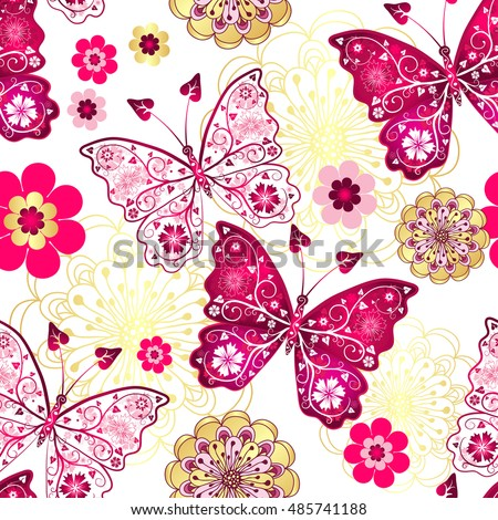 Seamless pattern with vintage butterflies and gold-purple flowers, vector