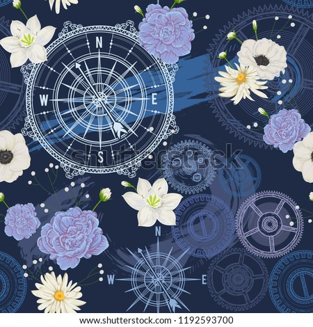 Seamless pattern with vintage compass, wind rose, gears, brush strokes and flowers. Travel, adventure and discovery. Nautical background. Vector illustration