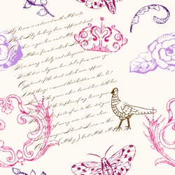 Seamless pattern with vintage elements, writing, bird, frame, flowers and butterflies on a white background