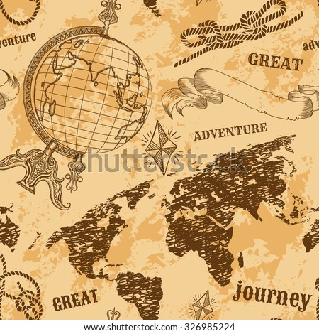 "Seamless pattern  with vintage globe, abstract world map, rope knots, ribbon. Retro hand drawn vector illustration ""Great adventure"" in sketch style with grunge background old paper"