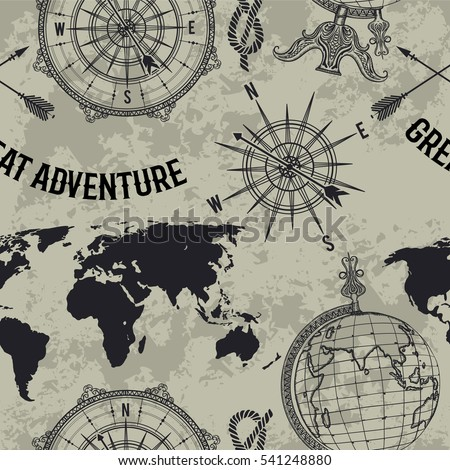 """Seamless pattern with vintage globe, compass, world map and wind rose. Retro hand drawn vector illustration """"Great adventure"""" in sketch style on grunge background"""
