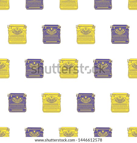 Seamless pattern with vintage typewriters, vector illustration inspire writers, screenwriters, blogers