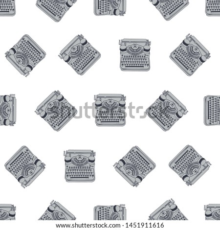Seamless pattern with vintage typewriters, vector illustrations, inspire writers, screenwriters, copywriters and other creative people