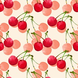 Seamless pattern with watercolor berry cherry. Endless repeating print background texture. Fabric design. Wallpaper - vector