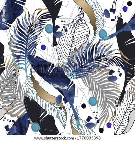 Seamless pattern with watercolor blots and tropical leaves. Vector.