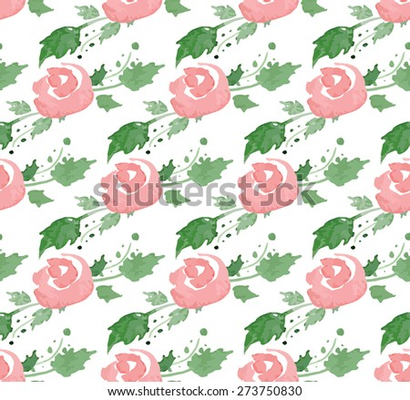 Seamless pattern with watercolor flowers. Illustrator swatch with transparent background included. Great for wedding and birthday invitations, Mothers day cards, wallpapers, wrappings.