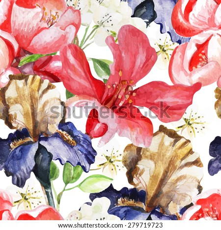 Seamless pattern with watercolor flowers. Iris. Blooming pomegranate. Vector illustration