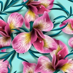 Seamless pattern with watercolor flowers. Iris. Orhid. Vector. Hand drawn.