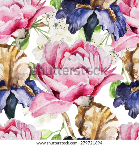 Seamless pattern with watercolor flowers. Iris. Peonies. Vector illustration