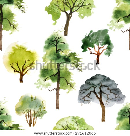 seamless pattern with watercolor trees on white background - stock vector