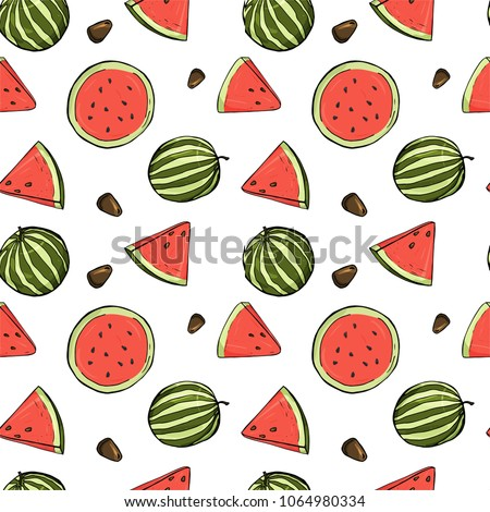 Seamless pattern with watermelons. Watermelon, slice of watermelon on white background. Colorful vector illustration in sketch style.