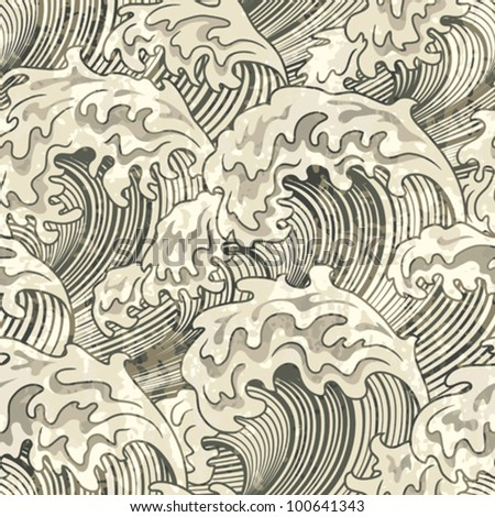 seamless pattern with wave and grunge