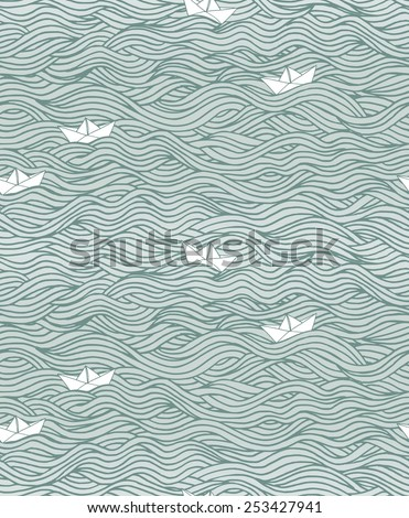 seamless pattern with waves and