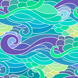 Seamless pattern with wavy curly ocean and mermaids style ornament.