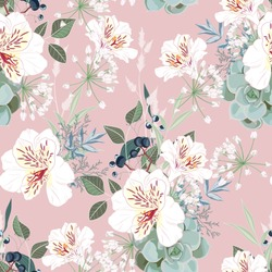 Seamless pattern with white alstroemeria flowers, leaves and berries. Hand drawn vintage background. floral pattern for wallpaper or fabric. Pink backdrop.