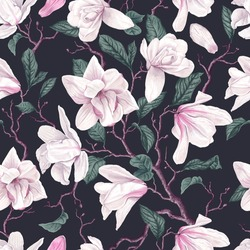 Seamless pattern with white magnolia on dark background. Vector detailed realistic flowers, branches, leaves, petals in stylish ornament for your design, card, textile, phone cases, desktop wallpapers