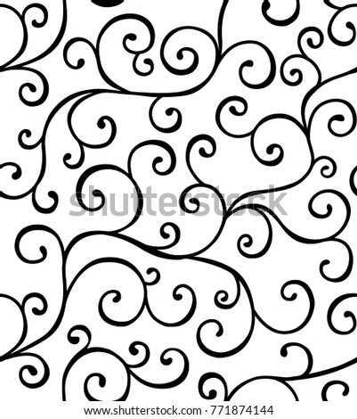 Seamless pattern with whorls. Curly lines ornament. Twisting stems. Vector illustration.