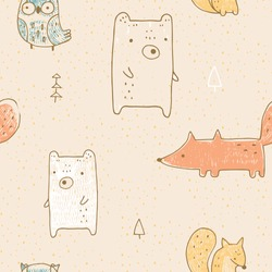 Seamless pattern with wild animals: bear, fox, owl and squirrel.  Hand drawn vector illustration.