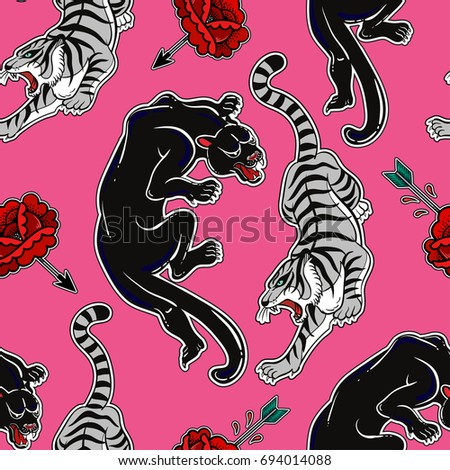 Seamless pattern with wild cats, tiger and panther. Danger classic flash tattoo style elements. Design for textiles and print in comic style. Pop art item. Fashionable vintage repeating background.