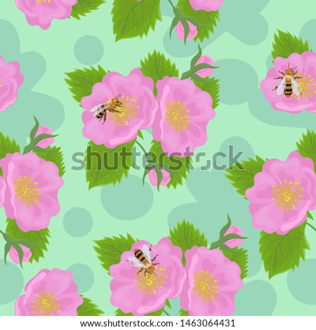 seamless pattern with wild rose