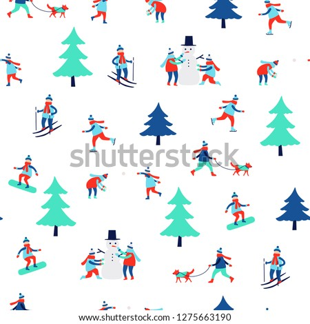 seamless pattern with winter activities