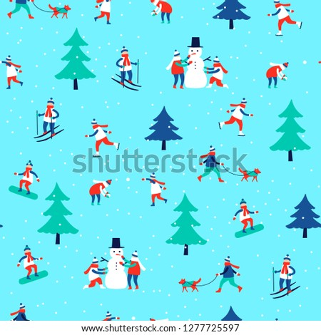 seamless pattern with winter activities. on blue background