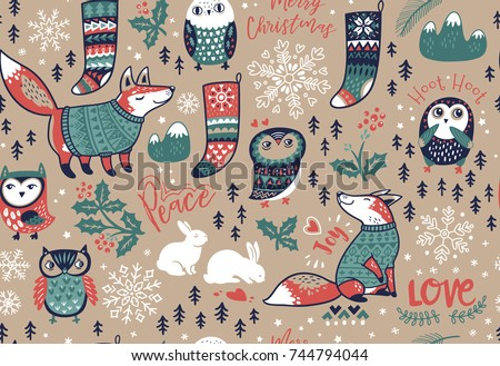 seamless pattern with winter