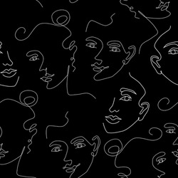 Seamless pattern with women's faces one line style. Modern background.