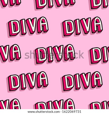 """Seamless pattern with words """"Diva"""" isolated on pink background. Cartoon comic style wallpaper. Girlish, feminine background."""