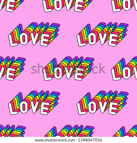 "Seamless pattern with words ""Love"" isolated on pink background. Text patches vector wallpaper. Quirky funny cartoon comic style of 80-90s."