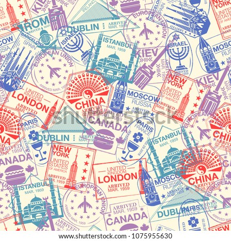 Seamless pattern with world visa rubber stamps on passport. Barcelona, France, Moscow, China, Canada, Dublin, USA, Istanbul, Rome, Kiev, London immigration signs, airport travel vector illustration.