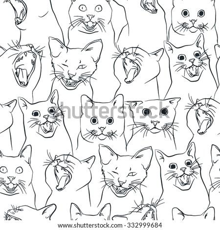 seamless pattern with yawning