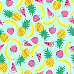 Seamless pattern with yellow bananas, pineapples and juicy strawberries on mint green background. Cute vector background. Bright summer fruits illustration. Fruit mix design for fabric and decor.