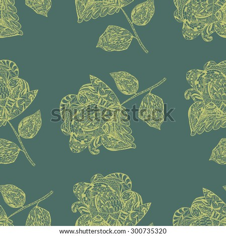 Seamless Pattern with yellow Flowers on green Background. Vector retro Design of Wallpaper or Textile