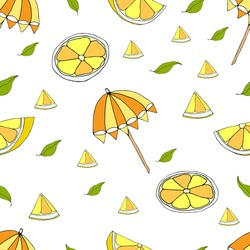 Seamless pattern with yellow oranges and umbrellas for celebrate holiday. Vector hand draw  Illustration EPS10