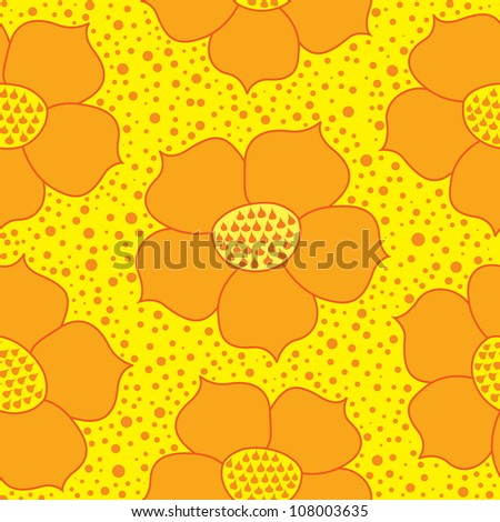 seamless pattern with yellow ornamental flowers