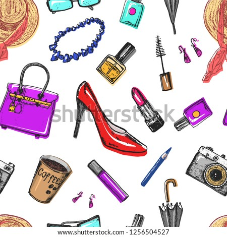 Seamless pattern Women s accessories cosmetics. Vintage style. Hand drawn doodle hat, shoes and makeup tools. Set of Patch and Pins.