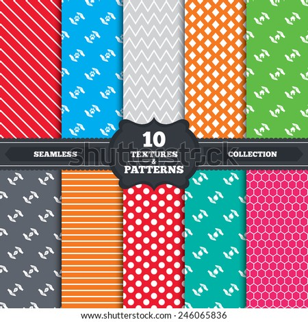 Seamless patterns and textures. Hands insurance icons. Shelter for pets dogs symbol. Save water drop symbol. House property insurance sign. Endless backgrounds with circles, lines. Vector