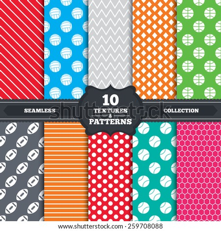 Seamless patterns and textures. Sport balls icons. Volleyball, Basketball, Baseball and American football signs. Team sport games. Endless backgrounds with circles, lines and geometric elements.