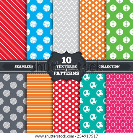 Seamless patterns and textures. Sport balls icons. Volleyball, Basketball, Soccer and Golf signs. Team sport games. Endless backgrounds with circles, lines and geometric elements. Vector