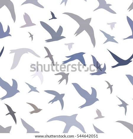 Seamless patterns image silhouettes of birds