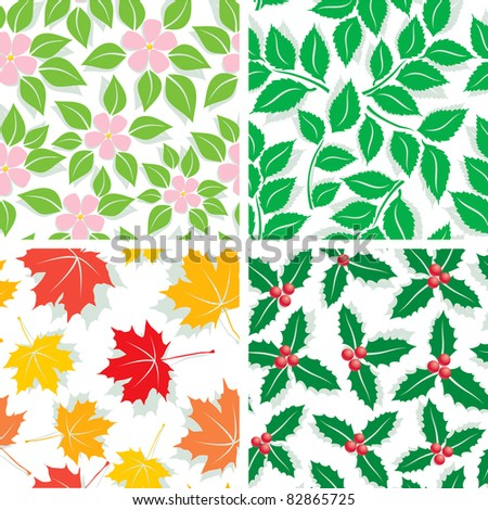 Seamless Patterns of the four seasons of spring, summer, autumn and winter