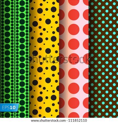 Seamless patterns, polka dots set,�vector Eps 10 illustration.