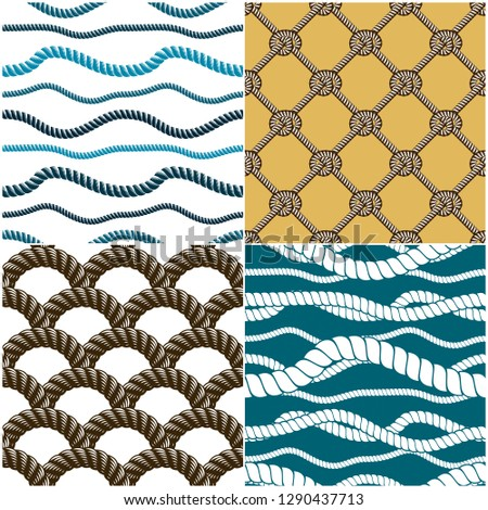 Seamless patterns rope woven vectors set, abstract illustrative backgrounds collection. Endless navy illustrations with fishing net ornament and marine knots.